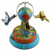 Blechspielzeug - Weltkugel mit Flugzeug - Blechflugzeug