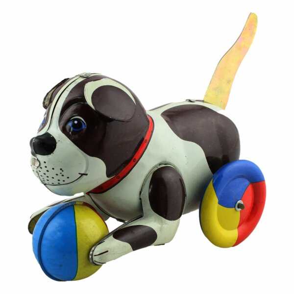 Tin toy - collectable toys - Dog with colored Ball