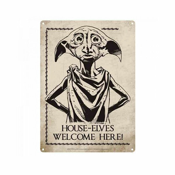 Tin sign 15x21cm - Harry Potter - House-Elves Welcome Here! - Metal card
