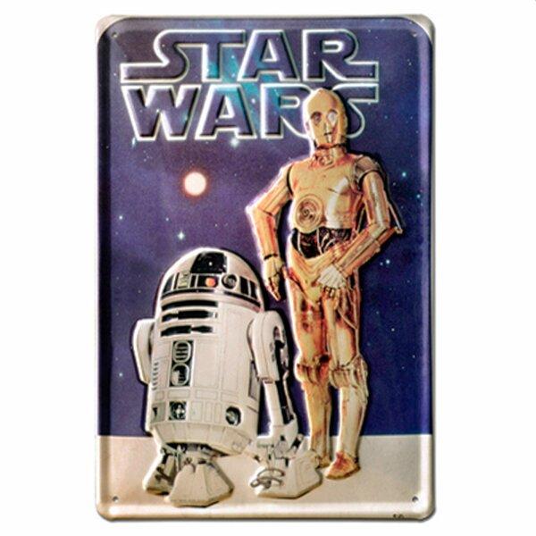 Geprägtes Blechschild 20x30 cm - Star Wars - C3PO & R2D2 - Nostalgie Blech Schild
