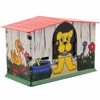 Haus Spardose - Hund - Blechspielzeug - Blechspardose