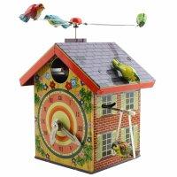 Blechspielzeug - Vogelhaus - Blechvogel