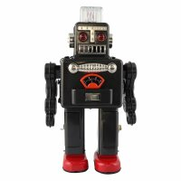 Robot - Tin Toy Robot - Smoking Spaceman Robot - grey