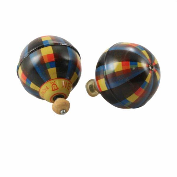 Blechspielzeug - Ballon Kreisel aus Blech - Blechkreisel - schwarz - bunt