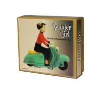 Blechspielzeug - Scooter Girl - Mädchen auf Motorroller - Roller - grün