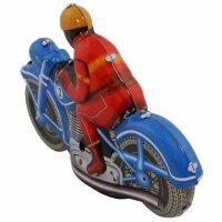 Blechspielzeug - Motoracer blau - Motorrad aus Blech - Blechmotorrad