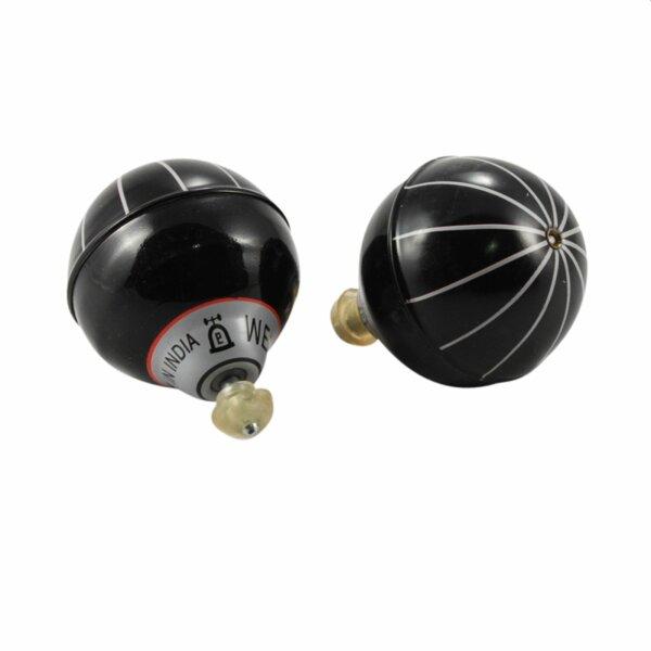 Blechspielzeug - Ballon Kreisel aus Blech - Blechkreisel - schwarz - silber Streifen