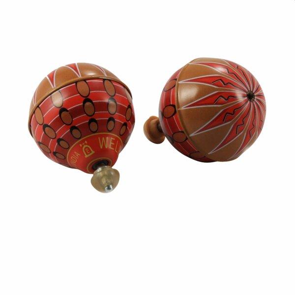 Blechspielzeug - Ballon Kreisel aus Blech - Blechkreisel - orange - bunt