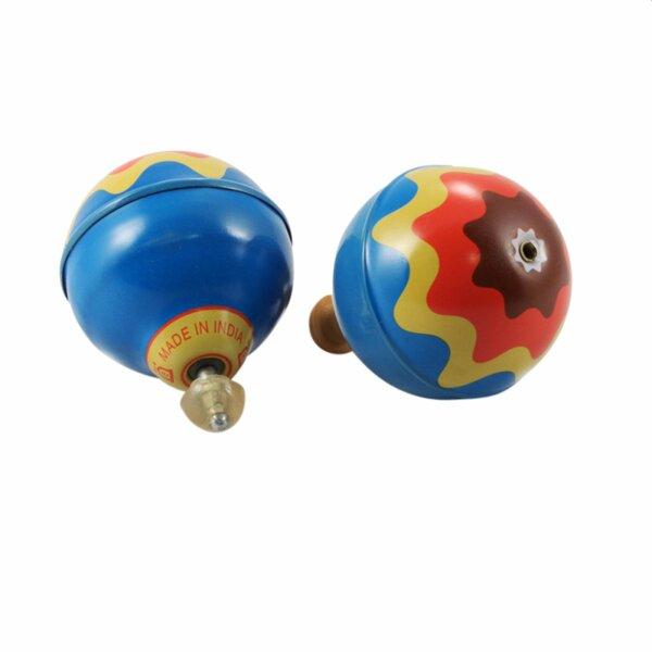 Blechspielzeug - Ballon Kreisel aus Blech - Blechkreisel - blau - bunt