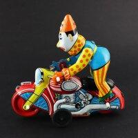 Blechspielzeug - Clown auf Motorrad - aus Blech