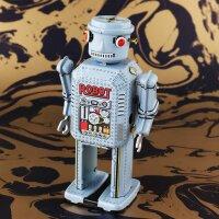 Roboter - Mechanical Robot - hellblau - Blechroboter