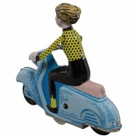Tin toy - collectable toys - Scooter Girl - blue-light blue