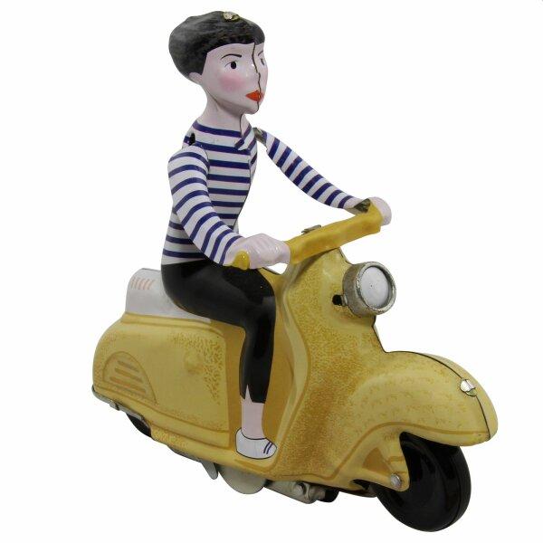 Blechspielzeug - Scooter Girl - Mädchen auf Motorroller - Roller - ocker
