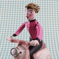 Tin toy - collectable toys - Scooter Girl - rose
