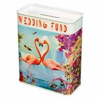 Blechspardose - Hochzeitsgeld - Flamingo - Spardose aus...
